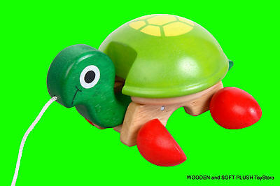 VOILA TOY wooden children's PULL-ALONG PET TORTOISE TOY for Toddler Activity NEW