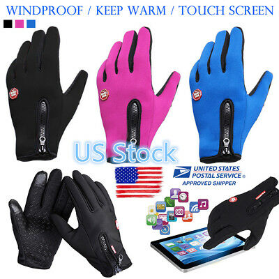 WindStopper Touch Full Finger Glove Outdoor Sports Gloves Bike Cycling Gloves US