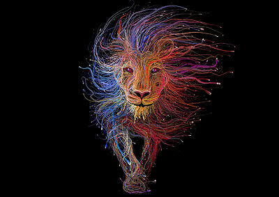 Lion Abstract Colourful Art Print Card or Canvas