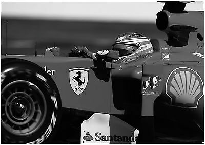Fernando Alonso F1 Car Giant Poster Art Print Black & White in Card or Canvas