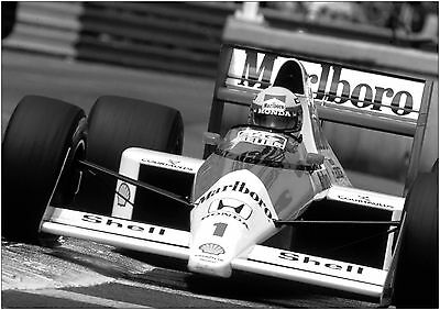 Ayrton Senna F1 Car Giant Poster Art Print Black & White in Card / Canvas