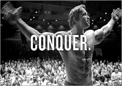 Arnold Schwarzenegger Conquer Giant Poster Art Print Black & White Card/Canvas