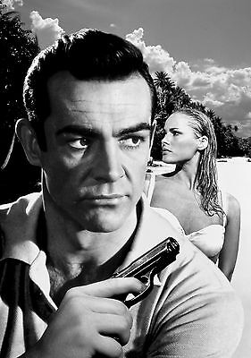 James Bond Sean Connery Giant Poster Art Print Black & White in Card / Canvas