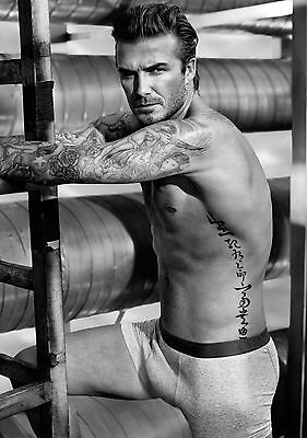 David Beckham Topless Large Poster Art Print Black & White in Card or Canvas