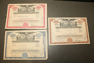 Lot of 3 Vintage Original Pan American World Airlines Capitol Stock Certificates