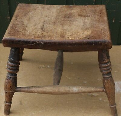 Good Old Unusual Looking Solid Wooden Small Or Low Stool To Polish Up