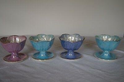 4 Maling Stunning Coloured Lustre Sundae Dish / Ice Cream Bowl  1920/30s