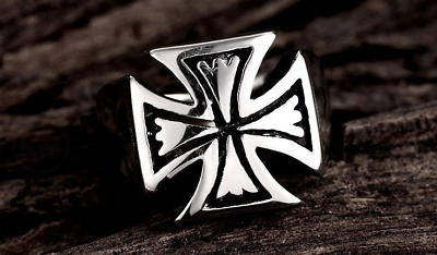 Huge Knight Templar Crusades Masonic Iron Maltese Cross WW2 Biker Men S8-12 Ring
