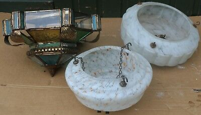 Selection Of 3 Large Old Looking Light Shades To Clean Up