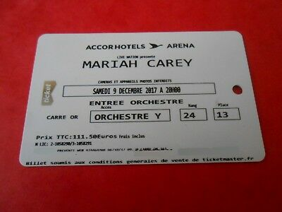 1 billet carré OR orchestre concert ★MARIAH CAREY★ 09/12/2017 AccorHotels Arena