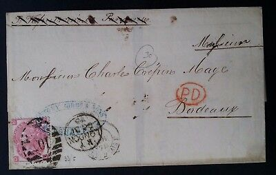 RARE 1870 Great Britain Folded Cover ties 3d carmine QV stamp canc London