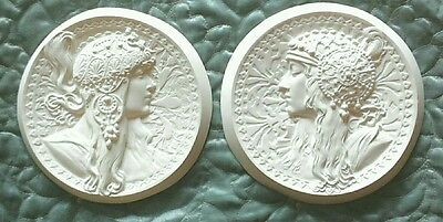 A pair of mucha style cameo wall plaques in  plain white