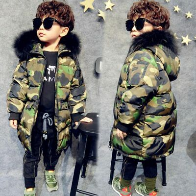Boys Kids Camouflage Quilted Jacket Fur Collar Hooded Thicken Jacket Trench coat