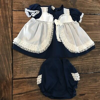 Vintage Mini World Navy White Lace Bow Dress Bloomers Baby Girl L 9-12 Months