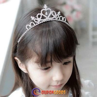 Rhinestone Crystal Tiara Hair Band Kid Bridal Princess Prom Crown for Girls