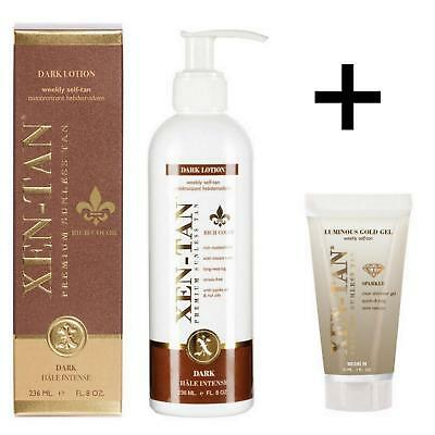 XEN TAN Dark Lotion Weekly Self Fake Tan 236ml - FREE Fresh Face Mousse