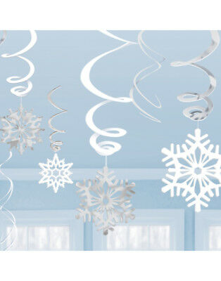 Christmas Xmas Snowflake Hanging Foil Swirl Party Decorations 12