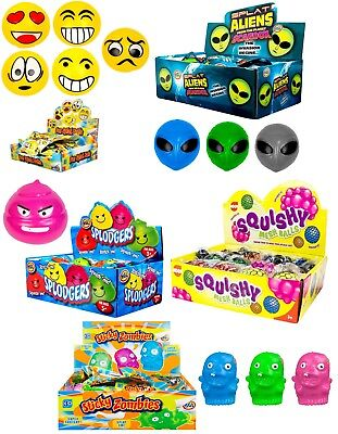 Emoticon Splat Balls,Splodgers,Aliens,Squishy Mesh Balls Stocking Filler Toy 3+y