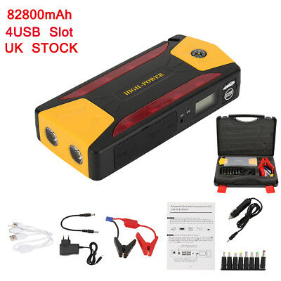 82800mAh Car Jump Starter Portable 12V Power Booster Battery Rescue Torch Kit