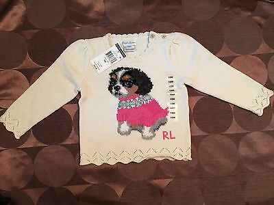 Ralph Lauren Baby Girl Infant Puppy Dog Pullover Sweater Sizes 12 18 Months -NWT