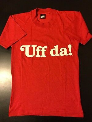 VTG 80s Uff Da Screen Stars Best T-Shirt Funny Scandinavian Norwegian Surprise