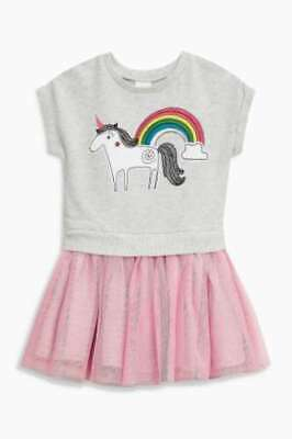 NEXT Girls Baby Dress  0-3 Months Unicorn Attached Tutu Style BNWT Summer