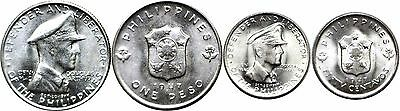 1947-S Philippines 2 Coin Silver Set 50 Cent. & 1 Peso KM# 184/185 Uncirculated