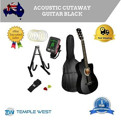 Acoustic Cutaway Guitar Black W/ Steel String Stand Strap Maple Wood Fingerboard