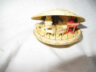 vintage Japanese carved Buddha diorama in celluloid clam shell Netsuke style