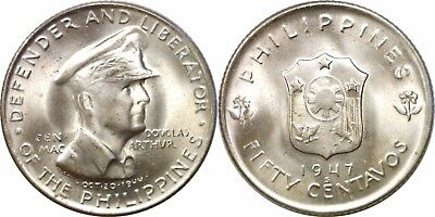 1947-S Philippines Silver 50 Centavos MacArthur Issue KM# 184 Uncirculated