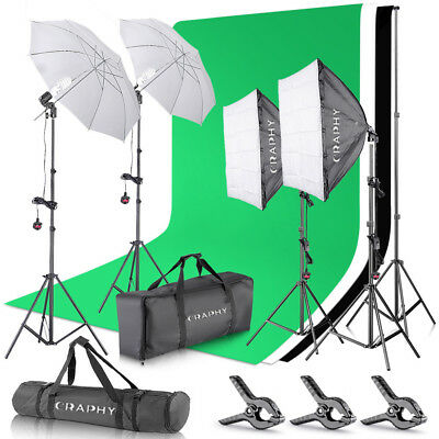 Photo Studio Continuous Soft Box Umbrella Lighting Kits Backdrop Light Stand Set