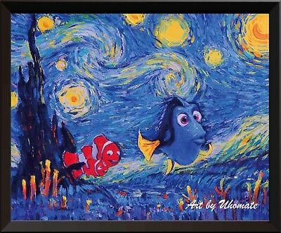 Uhomate Dory Finding Nemo Van Gogh Starry Night Canvas Nusery Wall Decor A006