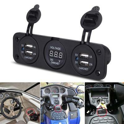 12V Dual USB Charger Adapter Red LED Voltmeter Waterproof Car Boat Marine Panel