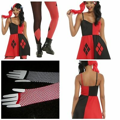 3 Pc Harley Quinn Dress  Xl* Tights M-L* Arm Warmers* Suicide Squad Dc Comics