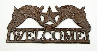 CAST IRON Horse Star Welcome  Wall Plaque Sign   Western Decor Nice!