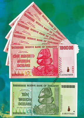 5 x 100 Million + 10 Trillion Zimbabwe Dollars Banknotes Set AA 2008 Almost UNC