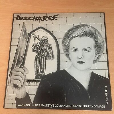 "Discharge 'Warning: HM Government...' 12"" vinyl EP 1982"