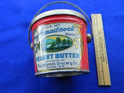 """Outstanding,  """"monadnock"""" Brand Peanut Butter Tin W/ Gorgeous 2-Sided Graphics"""