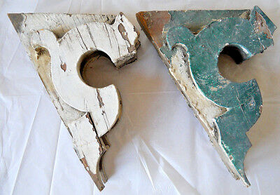 Antique Pair Wood Corbels Bookend Shabby Farm Cottage Chic Gingerbread 1850s