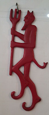 "Red Devil Cast Iron Figure Initials J W on heels ""Damper Devil"""