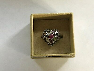 Vintage Ring Size 9 With Heart Cut & Mixed Gemstones In Sterling Silver 925