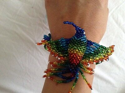 Hummingbird Beaded Handmade Bracelet Bangle Spirit Mexico Work Artist Huichol