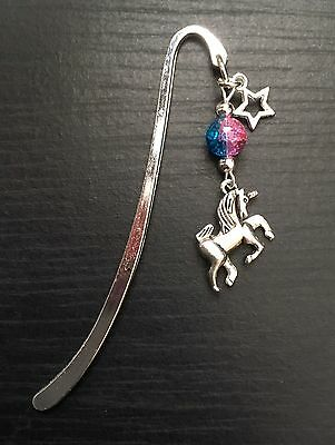 Silver Tone Unicorn Bookmark With Pink/Turquoise Bead & Star Charm, Great Gift