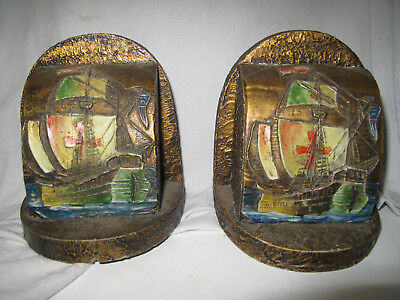 Antique wooden bookends hand carved and painted, nautical ships galleons
