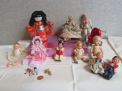 Miniature doll group of 12. Some dolls from Germany ,France, & Japan Hakata doll