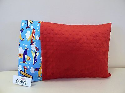 NWT Airplane Red Minky Dot Toddler Pillowcase 12 x16  Boy Car Travel Plane