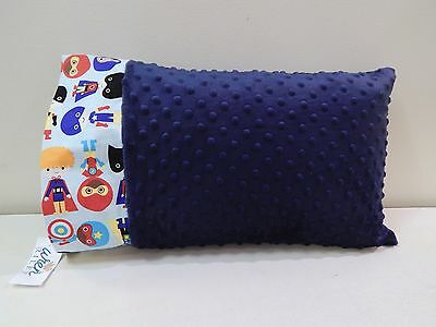 NWT Superhero Blue Minky Dot Toddler Pillowcase 12x16 Boy Super Hero Decor