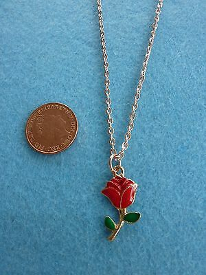 """Vintage Red Rose Enamel Pendant Rose Gold Chain Necklace 18"""" Birthday Gift # 37"""