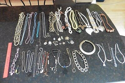 Lot of 42 Necklaces & 12 pendants Costume Jewelry Vintage & retro glass beads +