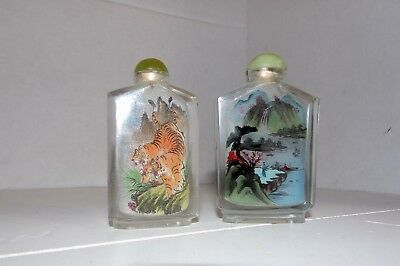 2 Vintage Antique Chinese Inside Reverse Painted Glass / Stone Snuff Bottles